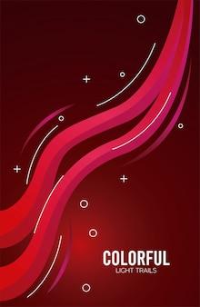 Sendero de luz colorida en diseño rojo de la ilustración