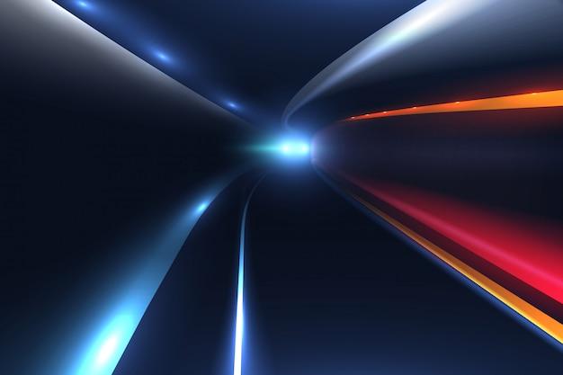 Senderos de luz de carretera de ciudad. fondo de vector de alta velocidad
