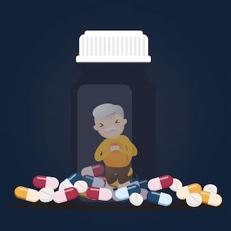 Senior con frascos de pastillas.