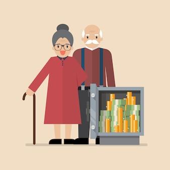 Senior hombre y mujer con caja fuerte llena de dinero