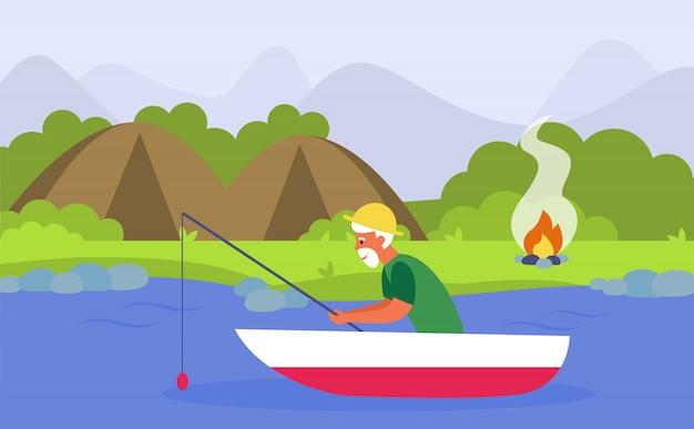 Senior hombre pescando en el río mientras acampa