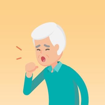 Senior hombre tosiendo