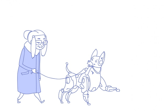 Senior mujer caminando con robot moderno perro inteligencia artificial cuidado de mascotas