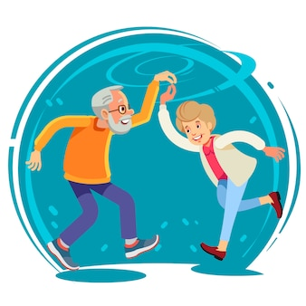 Senior pareja bailando juntos