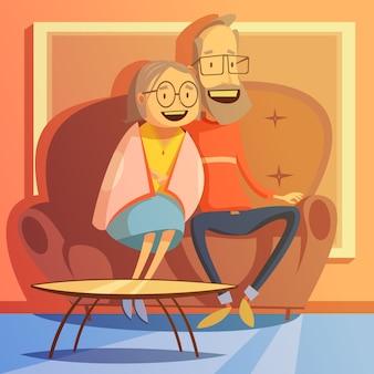 Senior pareja sentada en un sofá