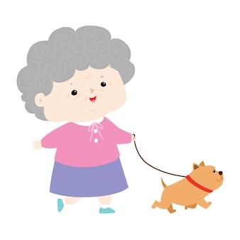 Senoir mujer caminando con ilustración de perro