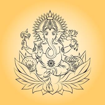 Señor dios indio ganesha con cabeza de elefante. hinduismo y animal, corona y loto.
