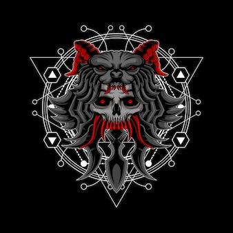 Señor de la guerra cráneo geometría sagrada