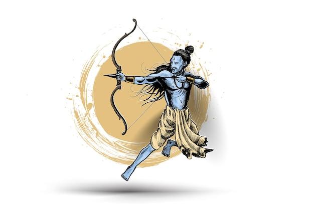 Señor rama con cartel de india flecha con texto hindi dussehra, ilustración de vector de boceto dibujado a mano.