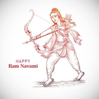 Señor rama con una flecha matando a ravana en el festival navratri