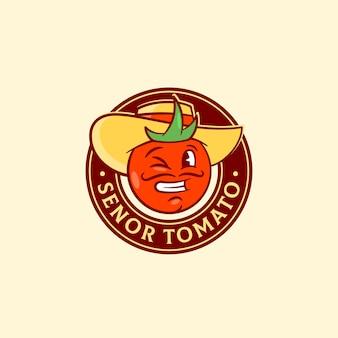 Senor tomate abstracto vector de señal, símbolo o plantilla de logotipo