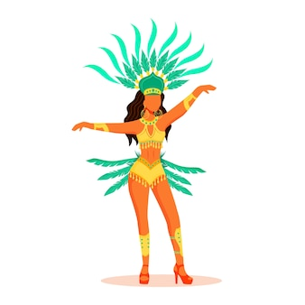 Señora en adorno corporal y ropa de carnaval de color plano personaje sin rostro. mujer de pie en corona verde con plumaje aislado ilustración de dibujos animados para diseño gráfico web y animación