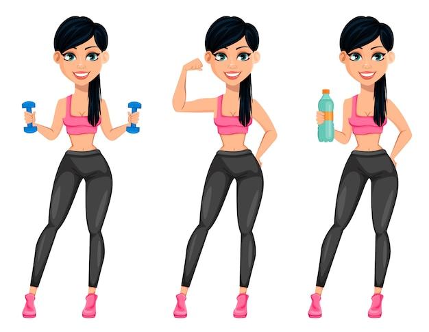 Señora bastante deportiva, atractiva mujer fitness