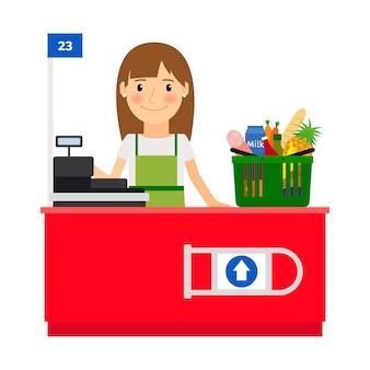Señora cajera en su lugar de trabajo. asistente de tienda de tienda de comestibles con caja registradora. ilustración vectorial