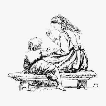Señora enseñando a un niño