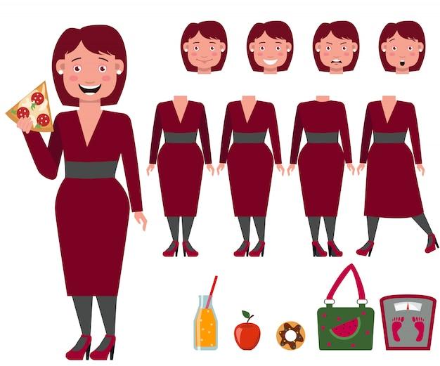 Señora gorda en vestido comiendo conjunto de caracteres de pizza