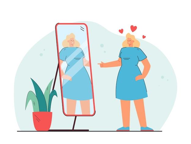 Señora joven alegre que mira el espejo y guiña un ojo aislado ilustración plana