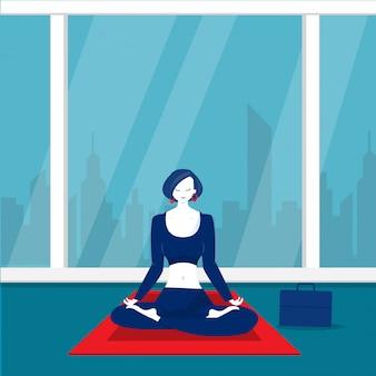Señora oficina feliz meditación y yoga con estrés y ansiedad.