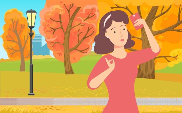 Señora usando el teléfono en el parque, vector de dispositivo inalámbrico