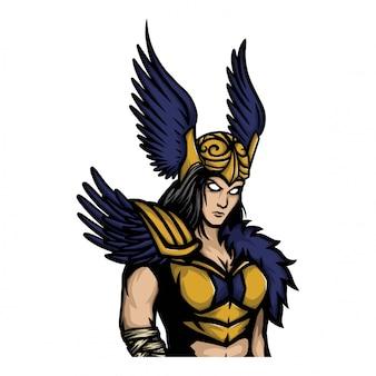 Señora vikinga guerrera con alas casco.
