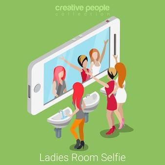Señoras habitación selfie tiro concepto de medios sociales de estilo de vida isométrico plano grupo de jóvenes hermosas antes de espejo de teléfono inteligente inodoro.