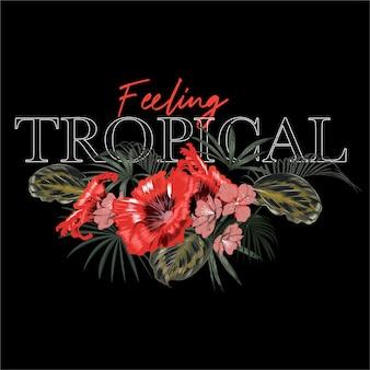 Sensación tropical oscura con flor de hibisco rojo y hojas de palma y letras en negro
