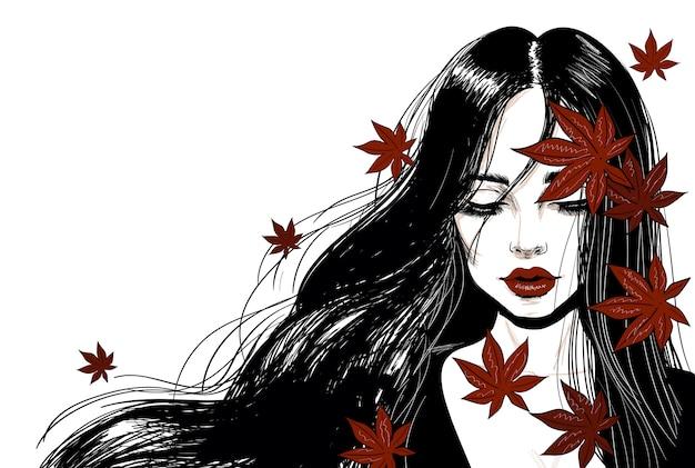 Sensual mujer con cabello largo y hojas rojas