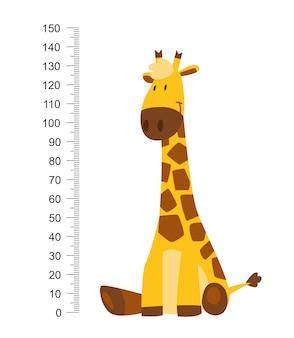 Sentado alegre jirafa divertida con cuello largo. medidor de altura o medidor de pared o adhesivo de 0 a 150 centímetros para medir el crecimiento.