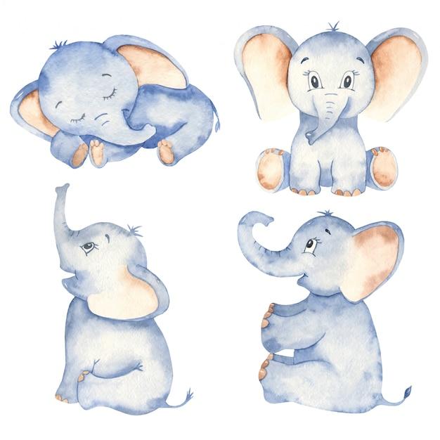 Sentado y durmiendo elefantes de dibujos animados lindo