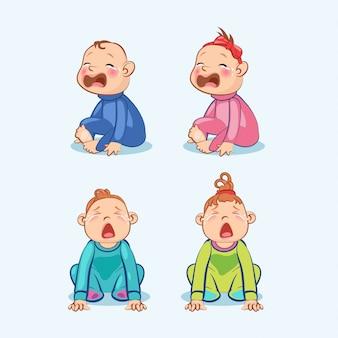 Sentado y llorando pequeño bebé y niña con la boca abierta