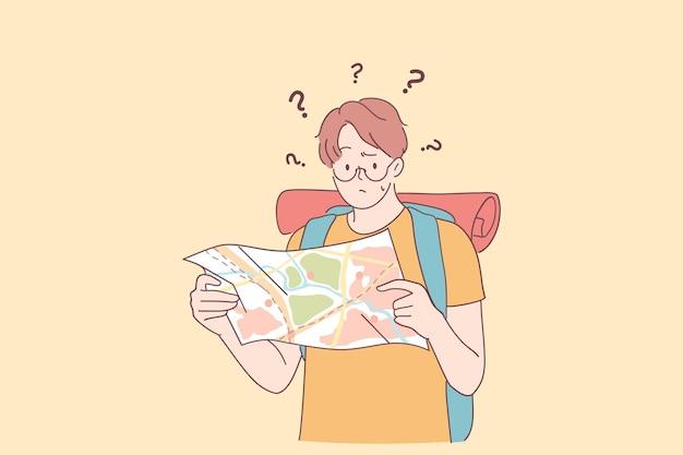 Sentirse perdido y concepto de frustración. personaje de dibujos animados joven caucásico de pie con el mapa de la ciudad y sintiéndose preocupado y deprimido por la angustia, asustado y frustrado