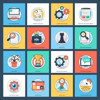 Seo y conjunto de iconos planos de desarrollo