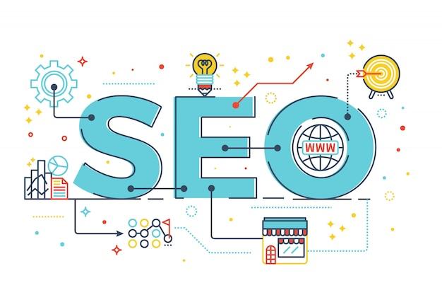 Seo: ilustración de diseño de letras de palabra optimización de motor de búsqueda