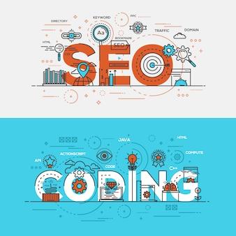 Seo y letras de codificación. concepto de línea de diseño plano con elementos.