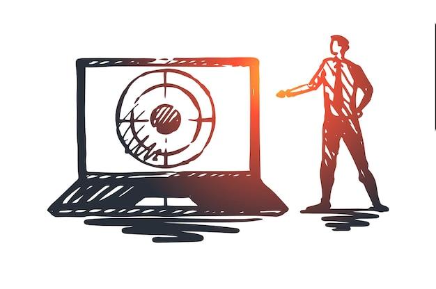 Seo, marketing, optimización, búsqueda, concepto de medios. dibujado a mano seo manager y laptop con boceto del concepto de destino.