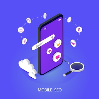 Seo o optimización del motor de búsqueda isométrica móvil. marca, y medios digitales de marketing concepto de vector plano