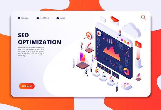 Seo optimización. comercio electrónico, marketing en internet y concepto isométrico 3d de la plataforma en línea. plantilla de página web de aterrizaje