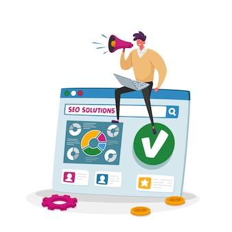 Seo, optimización de motores de búsqueda, concepto de análisis de datos empresariales