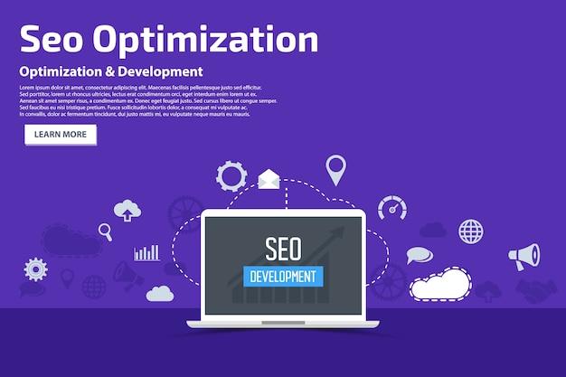 Seo optimization flat icons banner plantilla concepto