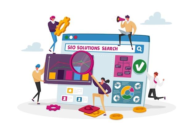 Seo solutions y concepto de análisis de datos comerciales