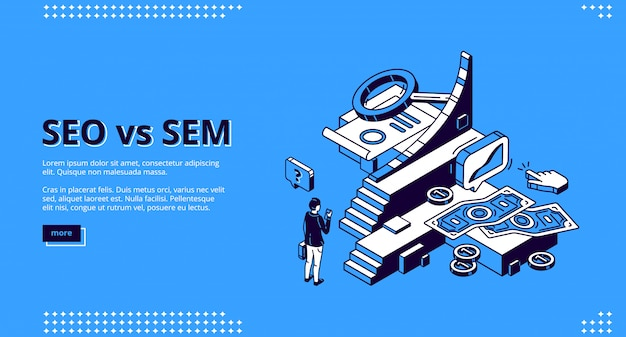 Seo vs sem aterrizaje isométrico, marketing digital
