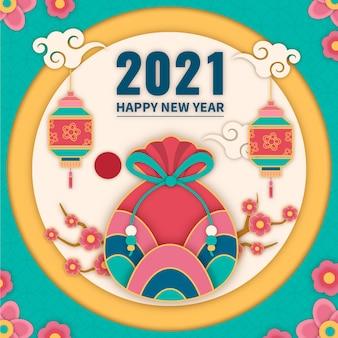Seollal año nuevo coreano en estilo papel