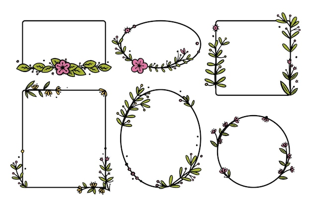 Separadores de coronas rústicas con flores dibujadas a mano. coronas de doodle de rectángulo y círculo