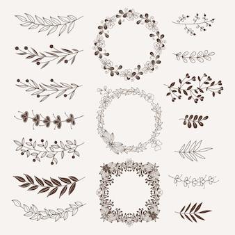 Separadores florales, bordes y marcos de colección. elementos ornamentales vintage