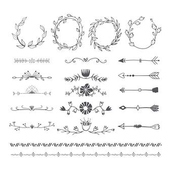 Separadores y marcos dibujados a mano para decoración de documentos