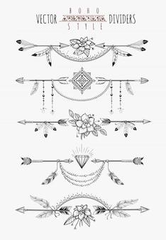 Separadores de página de plumas de flecha
