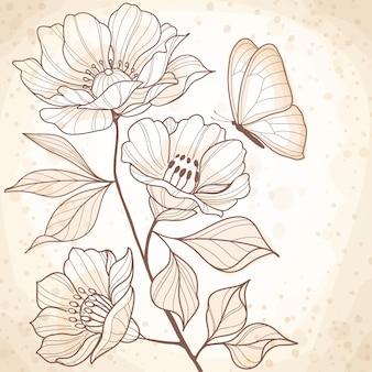 Sepia acuarela vintage ilustración floral