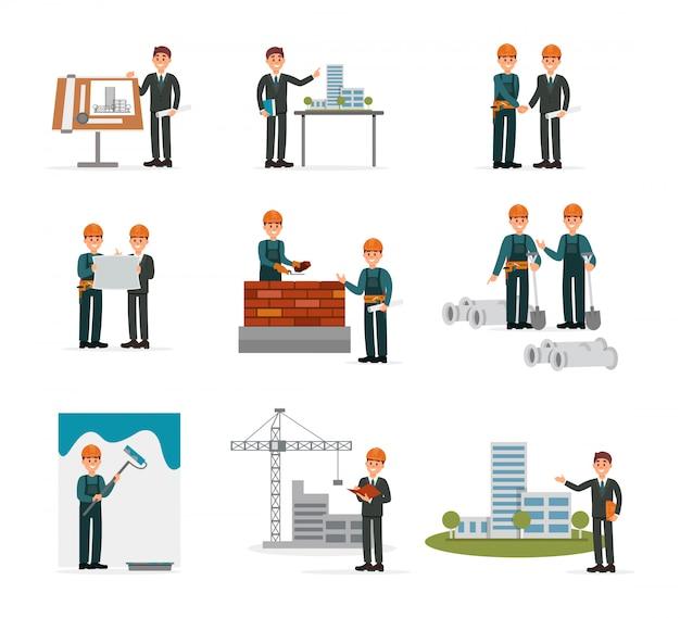 Ser de construcción, trabajadores industriales de ingeniería, constructores que trabajan con herramientas y equipos de construcción ilustraciones sobre un fondo blanco.