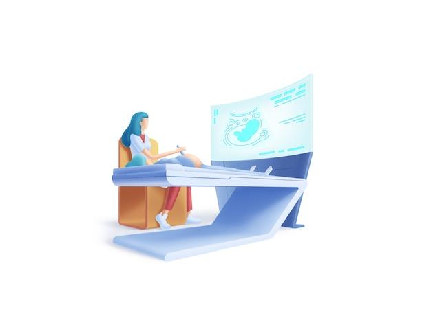 Serie de asistencia sanitaria: concepto de ilustración de médico de ultrasonido