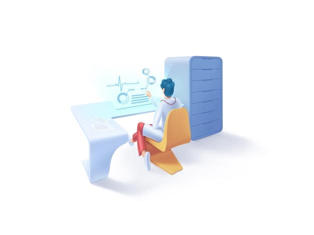 Serie asistencial: ilustración de cardiólogo